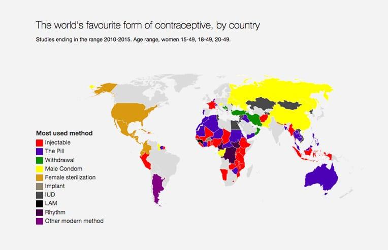 Mapa de los métodos anticonceptivos más utilizados en el mundo