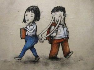 Hombre mira lascivamente a una mujer y sus ojos se convierten en manos evidenciando el acoso sexual en espacios públicos