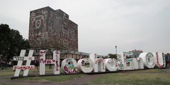 Pintas en la UNAM contra acoso sexual