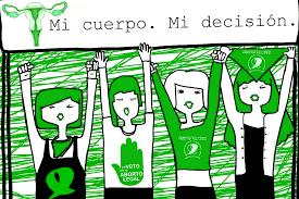 Ilustración con mujeres sosteniedo un cartel con la leyenda mi cuerpo, mi decisión