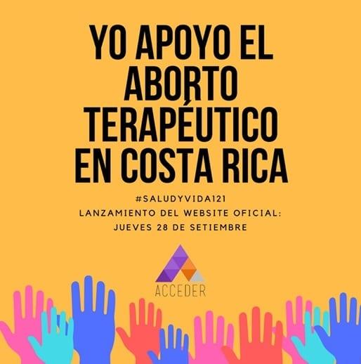 Cartel con la leyenda yo apoyo el aborto terapéutico en Costa Rica