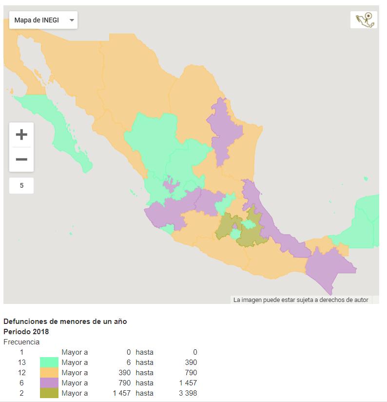 Estados de México con mayor tasa de muerte de menores de un año